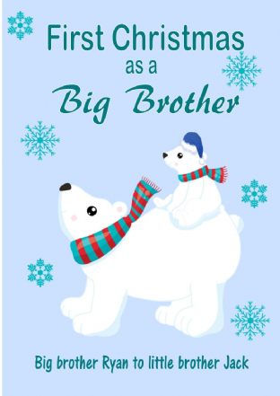 Personalised Big Brother to Little Brother Christmas Card Design 1